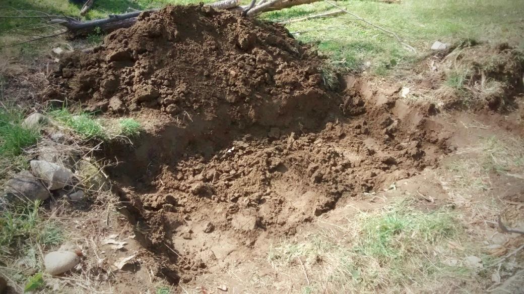 digging out a Hügelkultur raised garden bed