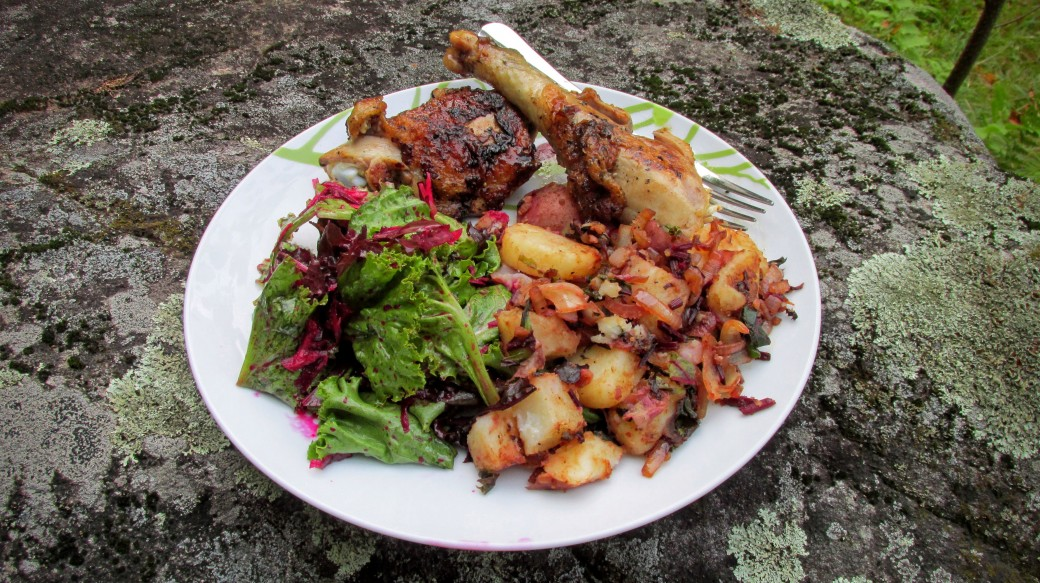 Heritage Breed Chicken with potatoes and salad