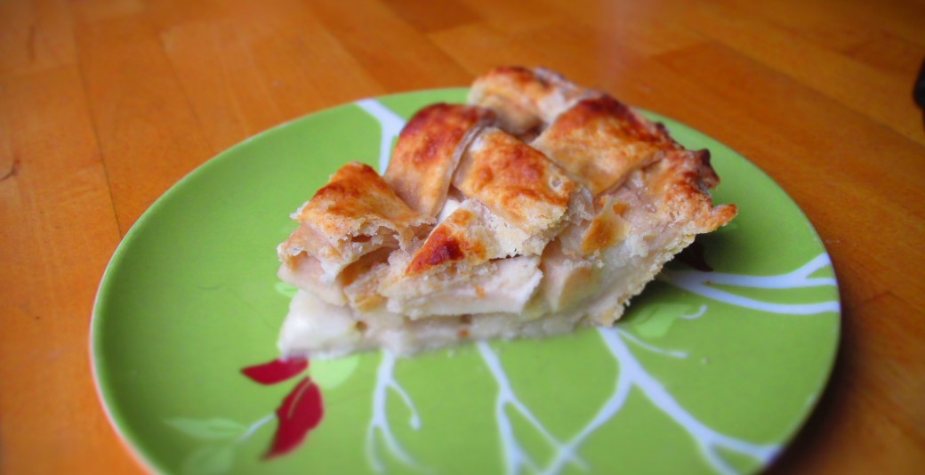 slice of lattice top apple pie