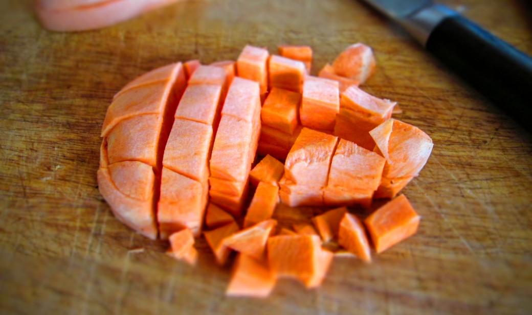 Chopping a sweet potato