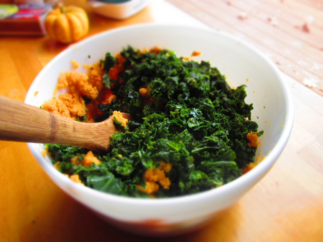 mashed kale and sweet potatoes