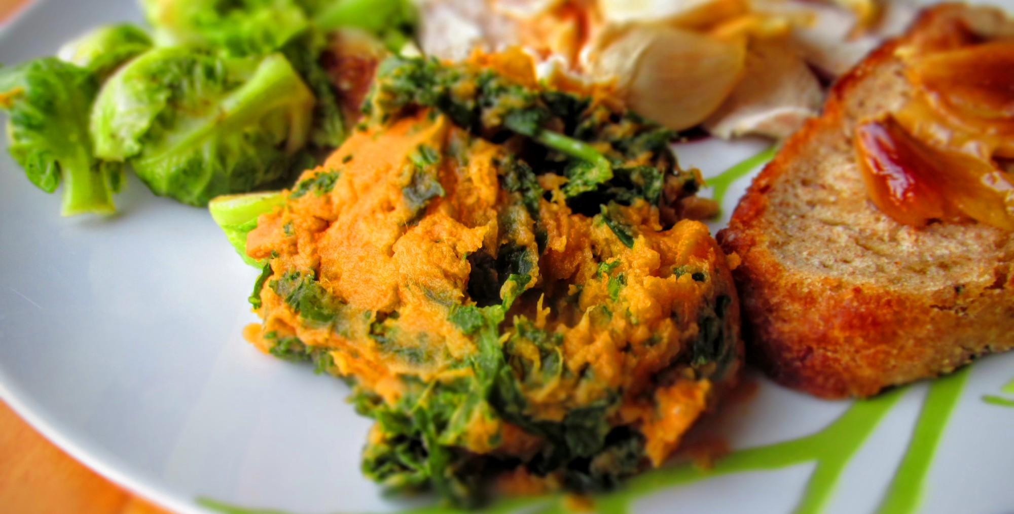 Mashed Kale Sweet Potatoes