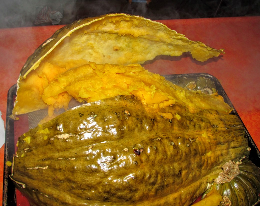 pulling skin off baked or roasted hubbard squash