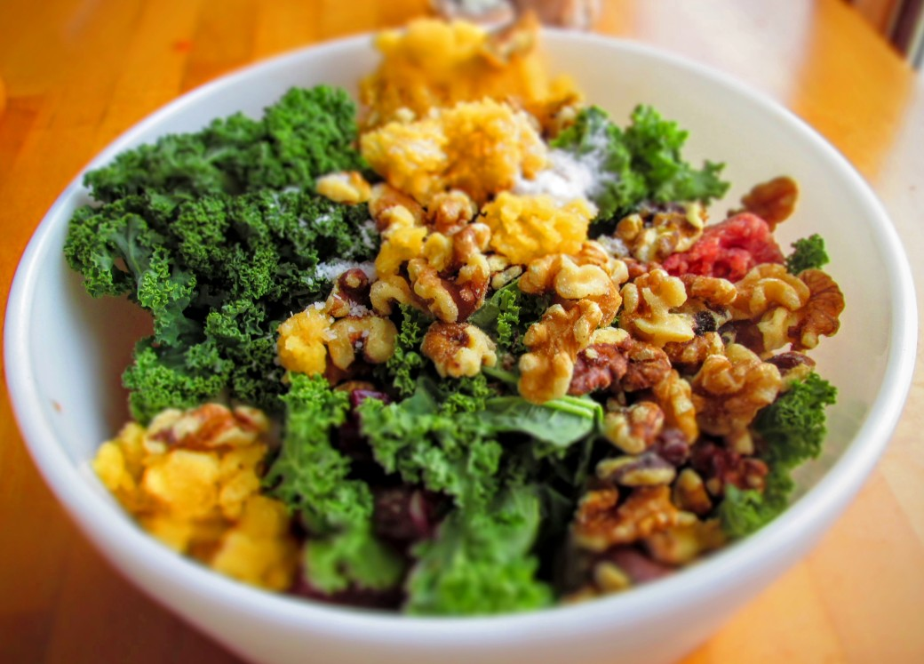 bowl of ingredients for vegetable loaded meatballs with kale, rutabaga, beets, and oats